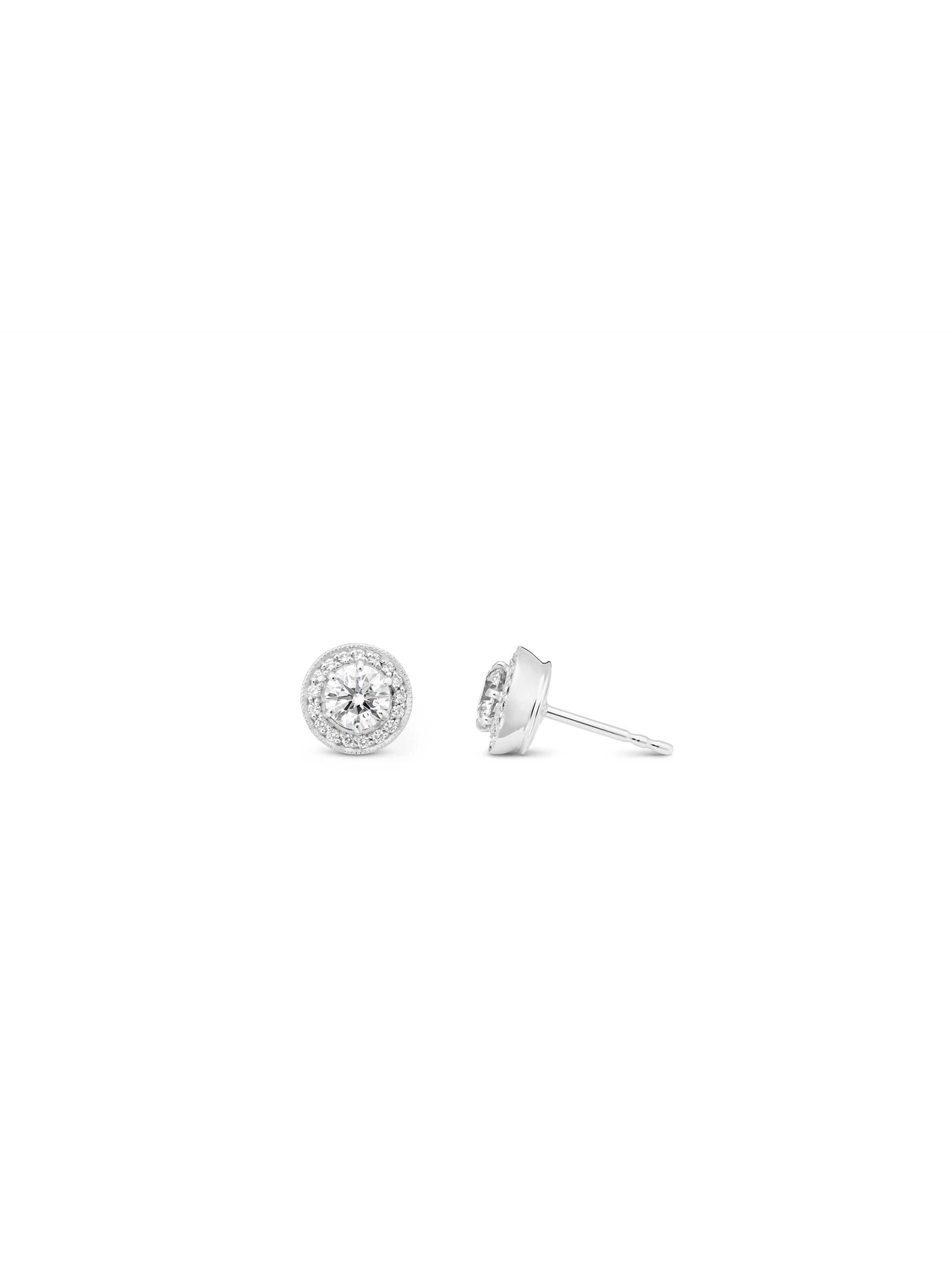 Crown millegrain ear studs