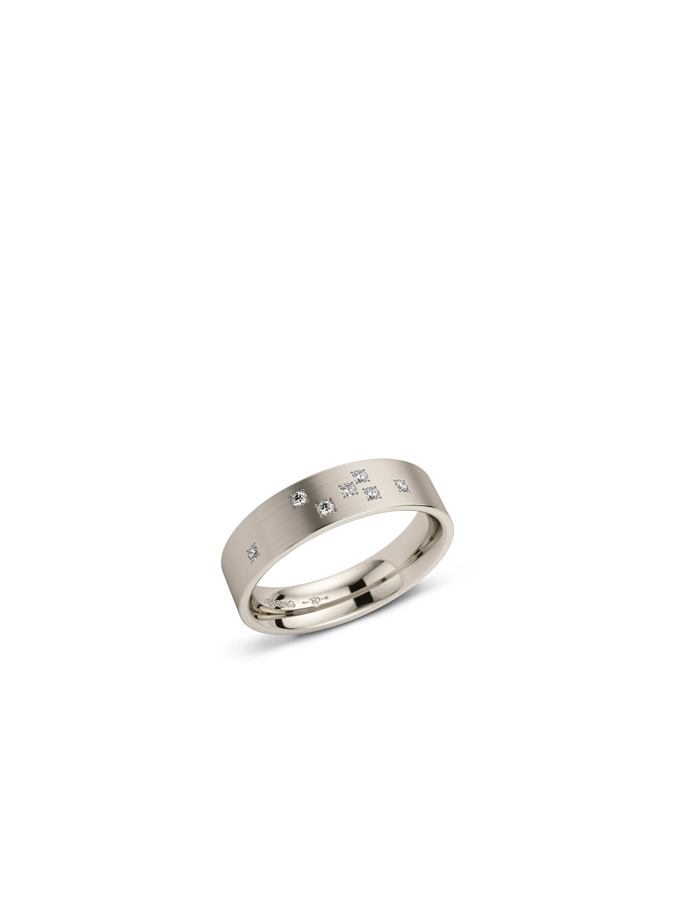 Cube wedding ring -rectangular/domed- with a silk-matt surface