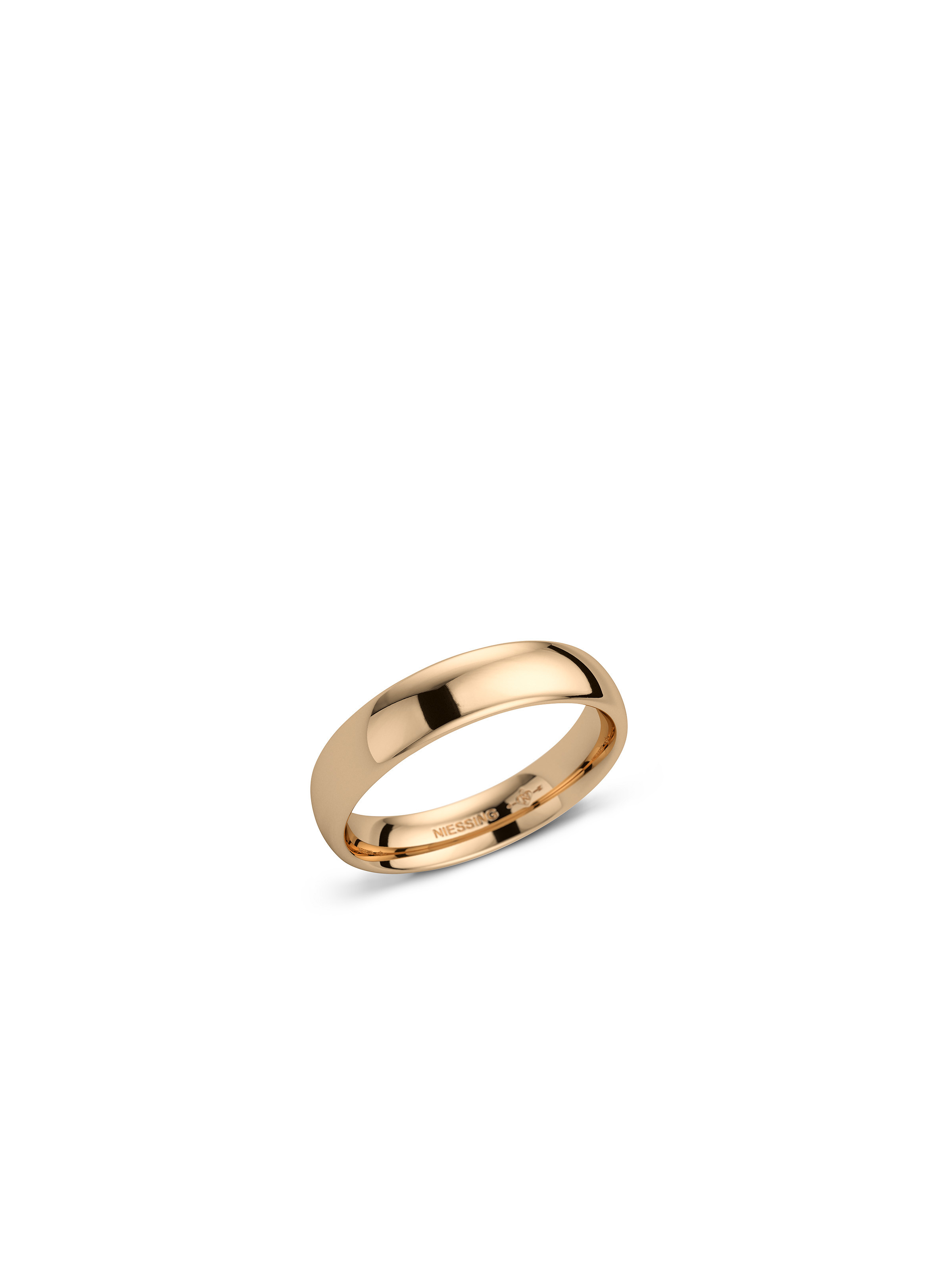 Soft Classic wedding ring -curved/domed- with a polished surface