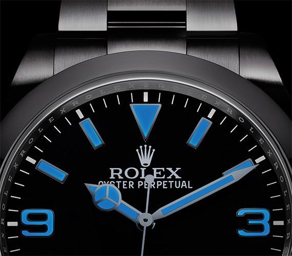 Deitailaufnahme eines Rolex Explorer Zifferblatts