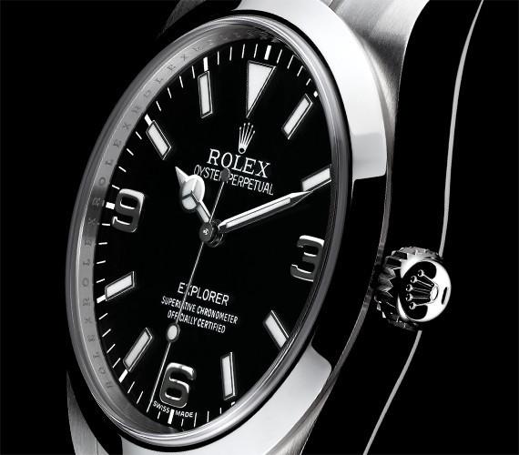 Scwarzes Zifferblatt einer Rolex Explorer