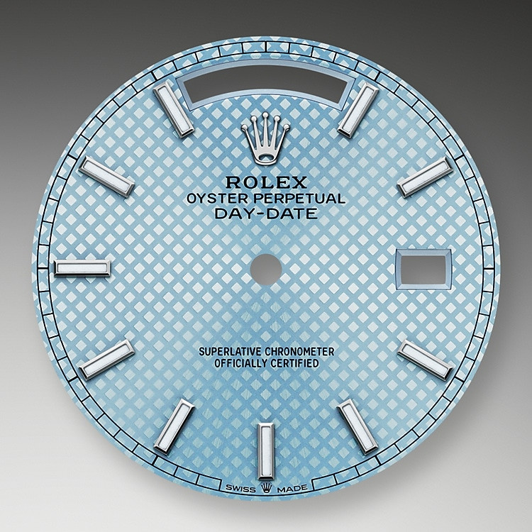 The ice-blue dial is the discreet and exclusive signature of a Rolex platinum watch. Rolex uses platinum, the noblest of metal, for the finest of watches.