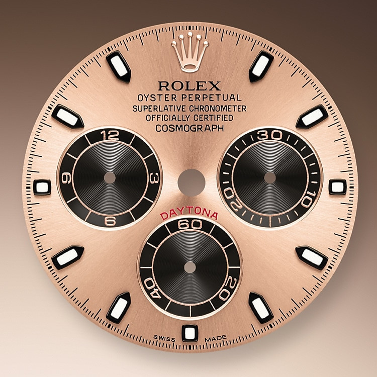 This model's Pink and black dial with snailed counters features 18 ct gold applique hour markers and hands in Chromalight, a highly-legible luminescent material. The central sweep seconds hand allows an accurate reading of 1/8 second, while the two counters on the dial display the lapsed time in hours and minutes. Drivers can accurately map out their track times and tactics without fail.
