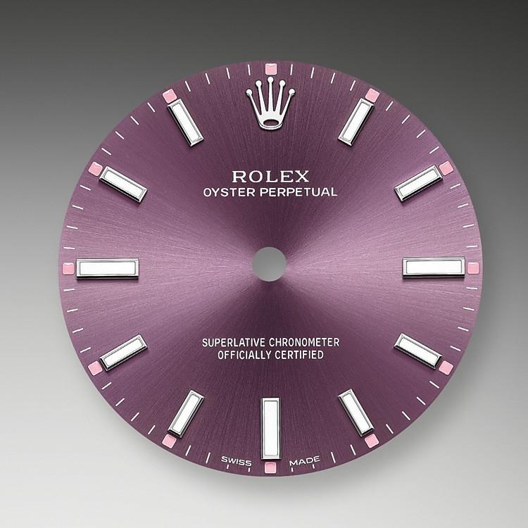 Mit ihren Zifferblättern in eleganten, sportlichen Farben erscheinen die Versionen der Rolex Oyster Perpetual attraktiver denn je. Sie sind in einer ganzen Palette attraktiver Größen und Zifferblattfarben verfügbar.