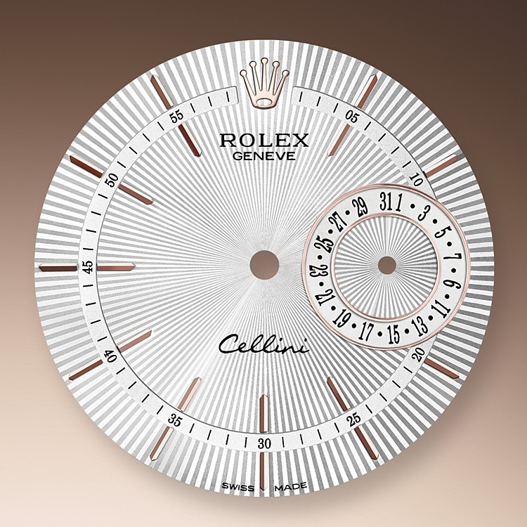 The guilloche dial of the Cellini Date pays tribute to the timeless codes of classic watchmaking, while reinterpreting them with an elegant modernity.