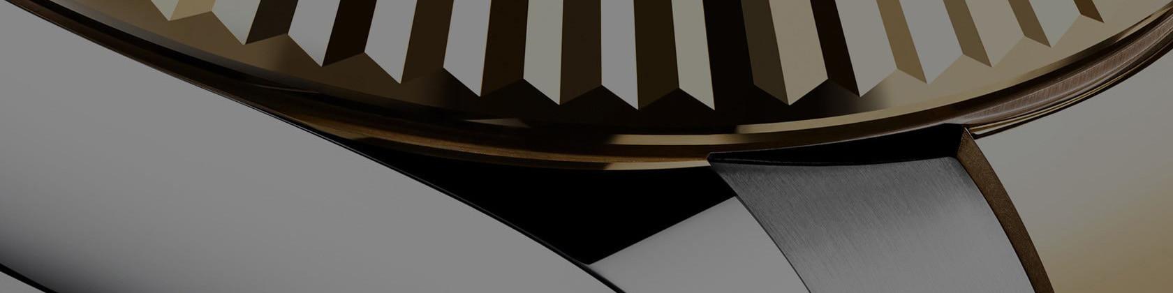 Detailaufnahme des Gehäuse der Rolex Sky-Dweller