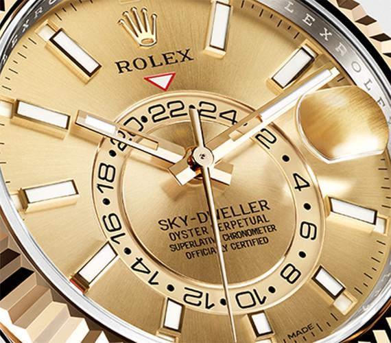 Zwei Zeitzonen auf dem Zifferblatt der Rolex Sky-Dweller