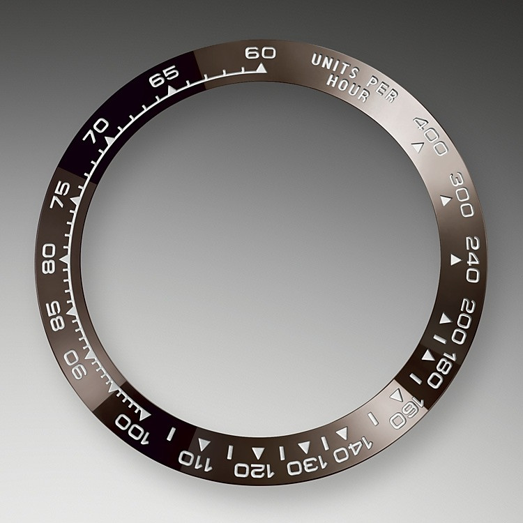 A key part of the model's identity is the bezel molded with a tachymetric scale for measuring average speeds of up to 400 miles or kilometers per hour. The monobloc Cerachrom bezel in high-tech ceramic offers a number of advantages: it is corrosion resistant, virtually scratchproof and the color is unaffected by UV rays. This extremely durable bezel also offers an exceptionally legible tachymetric scale, thanks to the deposition of a thin layer of platinum in the numerals and graduation via a PVD (Physical Vapor Deposition) process. The monobloc Cerachrom bezel is made in a single piece and holds the crystal firmly in place on the middle case, ensuring waterproofness.