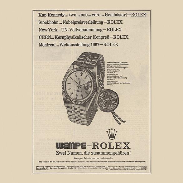 Alter Zeitungsartikel zu der Zusammenarbeit von Wempe und Rolex