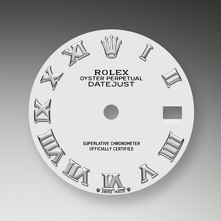 The dial is the distinctive face of a Rolex watch, the feature most responsible for its identity and readability. Characterized by hour markers fashioned from 18 kt gold to prevent tarnishing, every Rolex dial is designed and manufactured in-house, largely by hand to ensure perfection.
