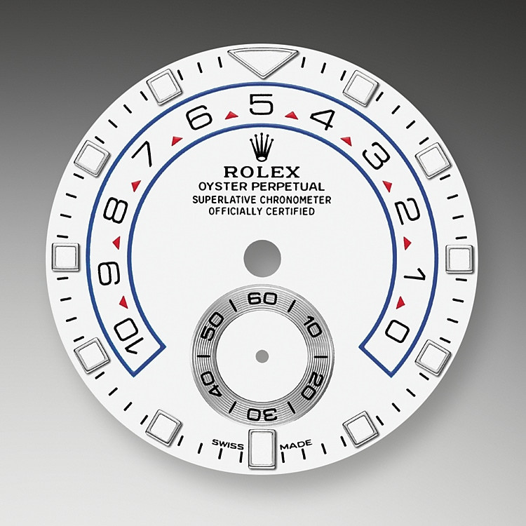 The Yacht-Master II is equipped with a new dial, and new hands that are characteristic of Rolex Professional models, enhancing legibility and sharpening its aesthetic appeal. The dial now features a triangular hour marker at 12 o'clock and a rectangular hour marker at 6 o'clock for more intuitive reading of the watch. A luminescent disc on the hour hand clearly distinguishes it from the minute hand. The Yacht-Master II's countdown can be programmed for a duration of between 1 and 10 minutes. The programming is memorized by the mechanism so that at a reset it returns to the previous setting. Once launched, the countdown can be synchronized on the fly to match the official race countdown.